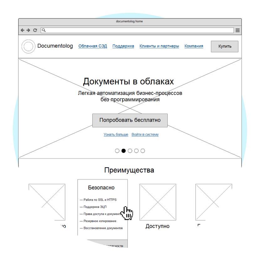 Прототипы сайта «Документолога» Сайт Артура Нецветаева — сайты, приложения, прототипы и оформление интерфейсов documentolog proto square preview