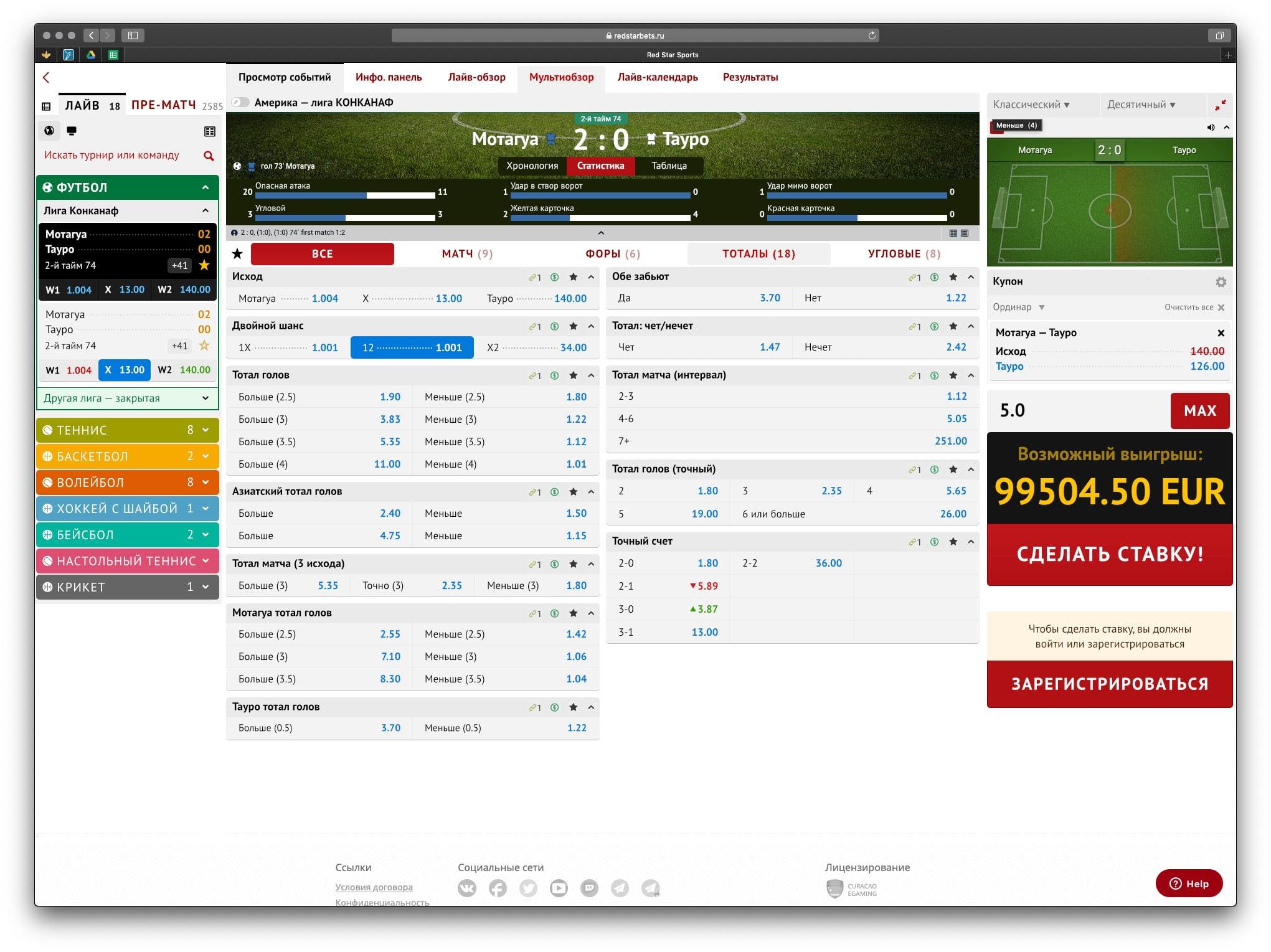 Интерфейс ставок RedStarBet Сайт Артура Нецветаева — сайты, приложения, прототипы и оформление интерфейсов table2 4