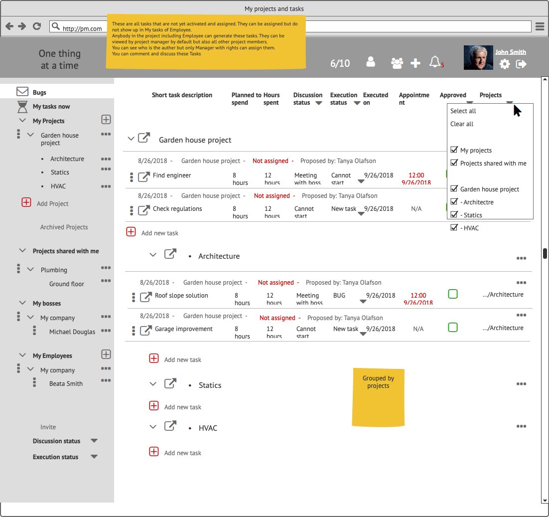 Прототипы CRM My Tasks Сайт Артура Нецветаева — сайты, приложения, прототипы и оформление интерфейсов Bugs