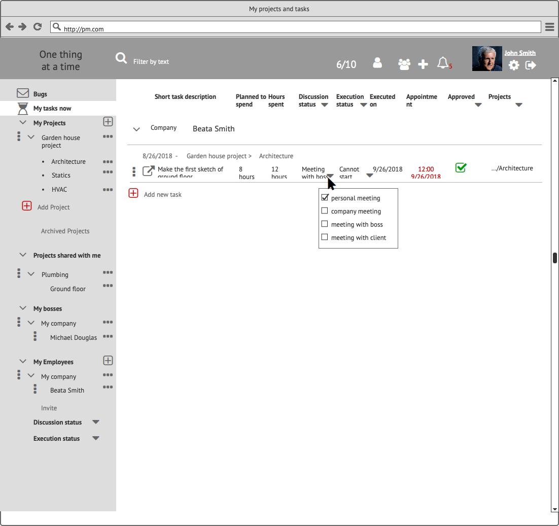 Прототипы CRM My Tasks Сайт Артура Нецветаева — сайты, приложения, прототипы и оформление интерфейсов My Employee