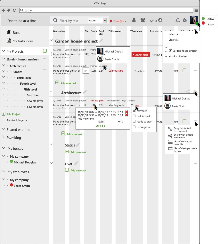 Прототипы CRM My Tasks Сайт Артура Нецветаева — сайты, приложения, прототипы и оформление интерфейсов My Projects filters