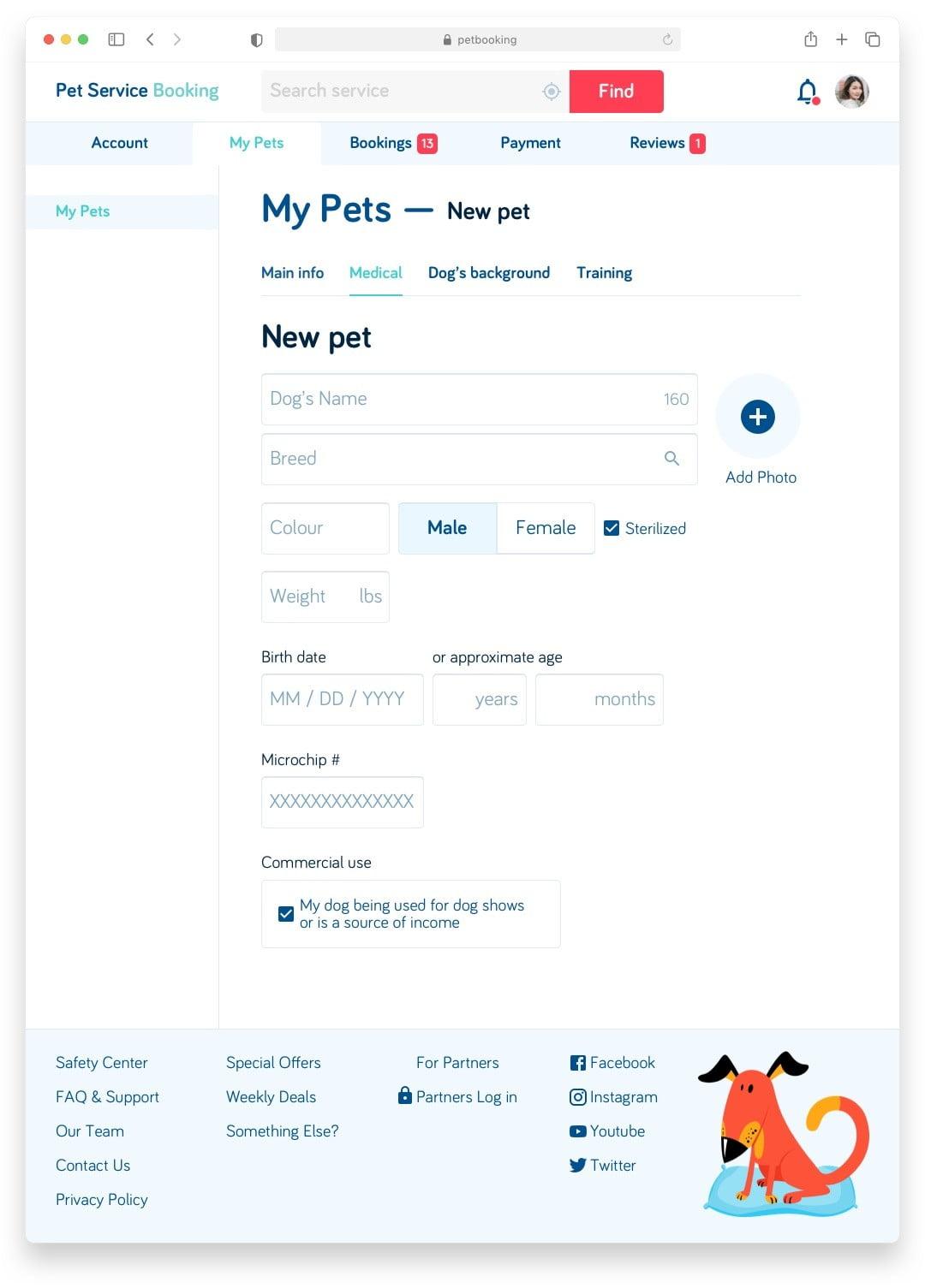Букинг для собак Pet Booking Сайт Артура Нецветаева — сайты, приложения, прототипы и оформление интерфейсов petbooking client mypets desktop artur netsvetaev design