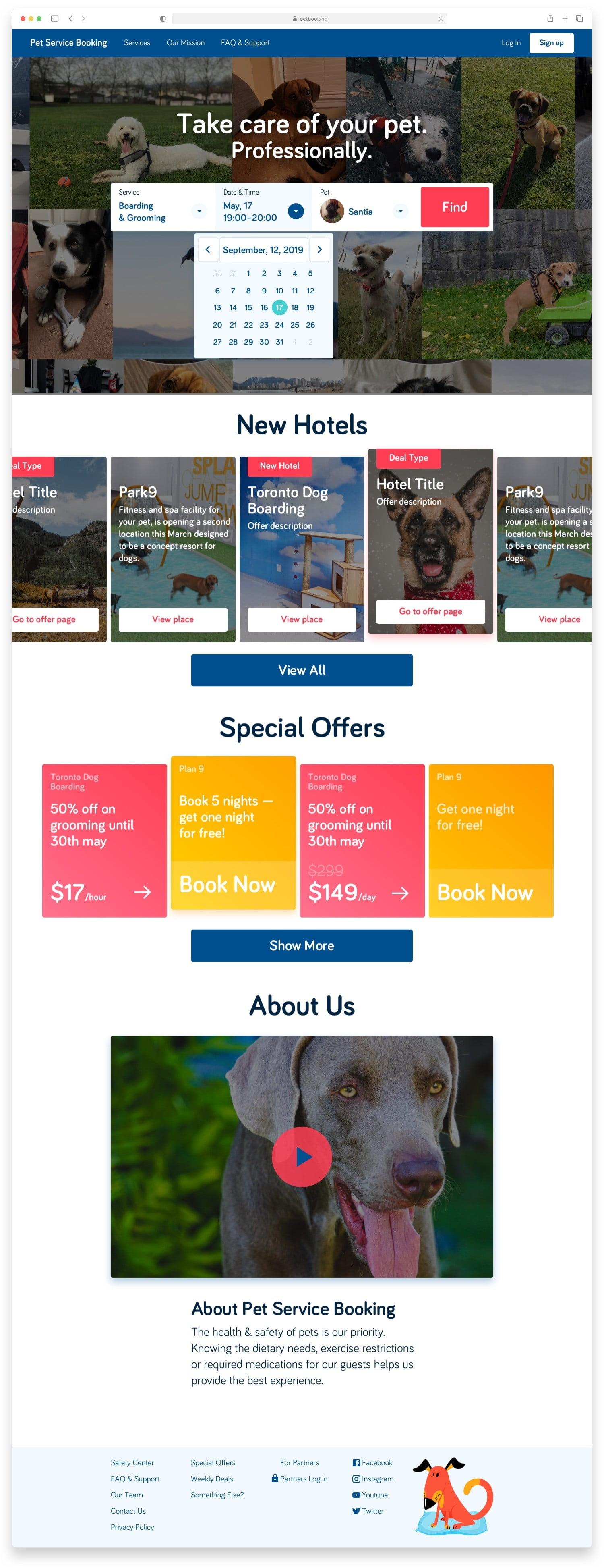 Букинг для собак Pet Booking Сайт Артура Нецветаева — сайты, приложения, прототипы и оформление интерфейсов petbooking main desktop artur netsvetaev design
