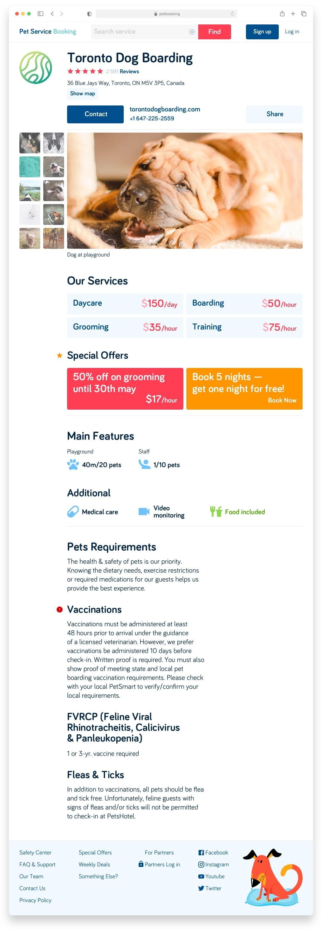Букинг для собак Pet Booking Сайт Артура Нецветаева — сайты, приложения, прототипы и оформление интерфейсов petbooking partner page desktop artur netsvetaev design