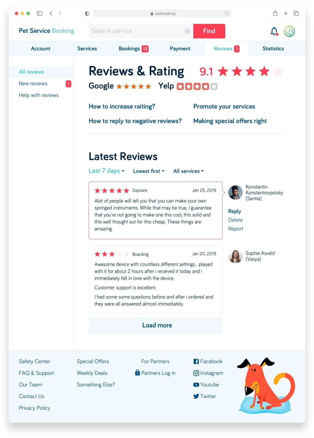 Букинг для собак Pet Booking Сайт Артура Нецветаева — сайты, приложения, прототипы и оформление интерфейсов petbooking partner reviews desktop artur netsvetaev design
