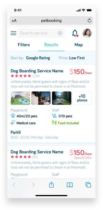 Букинг для собак Pet Booking Сайт Артура Нецветаева — сайты, приложения, прототипы и оформление интерфейсов petbooking search mobile artur netsvetaev design