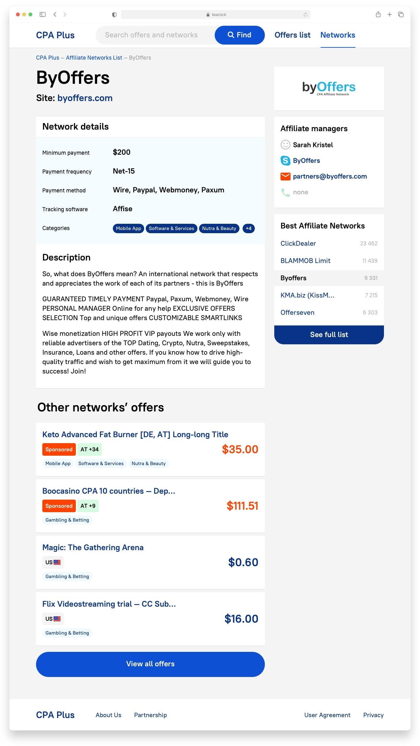 Интерфейс CPA Plus Сайт Артура Нецветаева — сайты, приложения, прототипы и оформление интерфейсов cpaplus network desktop artur netsvetaev design
