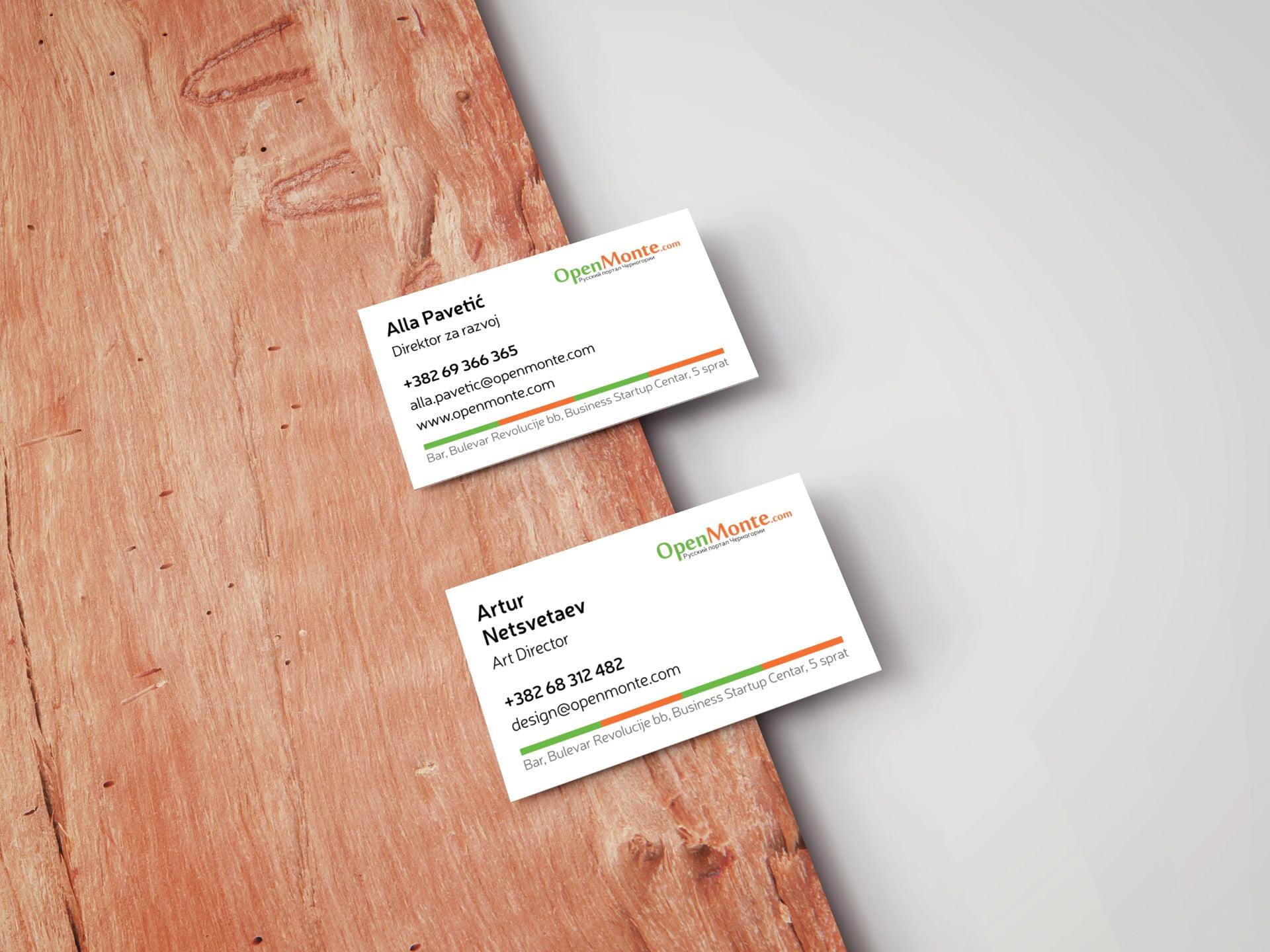 Логотип и визитки Опенмонте Сайт Артура Нецветаева — сайты, приложения, прототипы и оформление интерфейсов business card mockup on wooden board
